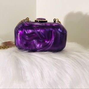 Small purple clutch bag with gold chain; new